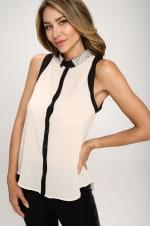 KAII Pearl On Collar Sleeveless Shirt - 3