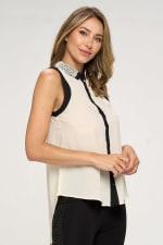 KAII Pearl On Collar Sleeveless Shirt - 4
