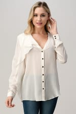 Kaii 100% Silk Ruffled Button Neck Front with Long Sleeves Shirt - 1