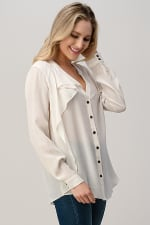 Kaii 100% Silk Ruffled Button Neck Front with Long Sleeves Shirt - 4