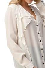 Kaii 100% Silk Ruffled Button Neck Front with Long Sleeves Shirt - 6