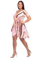 Tie Dye Print V-Neck Wrap Dress - Plus - 11