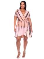 Tie Dye Print V-Neck Wrap Dress - Plus - 10