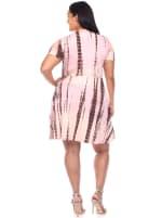Tie Dye Print V-Neck Wrap Dress - Plus - 8