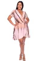 Tie Dye Print V-Neck Wrap Dress - Plus - 7
