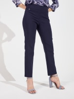 Roz & Ali Super Stretch Pull On Tummy Control Pants with Wide Waistband and Charm Trim - 1