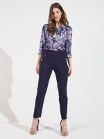 Roz & Ali Super Stretch Pull On Tummy Control Pants with Wide Waistband and Charm Trim - 8