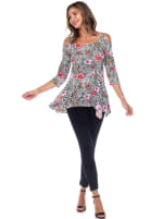 Printed Cold Shoulder Tunic Top - 3