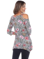 Printed Cold Shoulder Tunic Top - 2