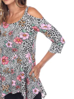 Printed Cold Shoulder Tunic Top - 5