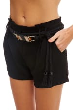 Kaii Paper Bag Waist With Rope Belted Shorts - 3