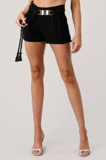 Kaii Paper Bag Waist With Rope Belted Shorts - 4