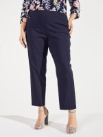 Roz & Ali Super Stretch Pull On Tummy Control Pants with Wide Waistband and Charm Trim - Plus - 10