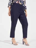 Roz & Ali Super Stretch Pull On Tummy Control Pants with Wide Waistband and Charm Trim - Plus - 12