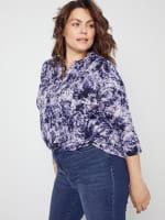 Roz & Ali Denim Friendly Tie Dye Popover - Plus - 10