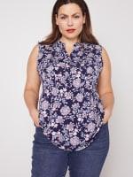 Roz & Ali Sleeveless Jacobean Floral Popover - Plus - 1
