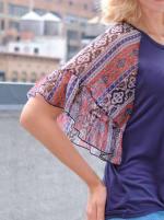 Westport Mix Media Ruffle Sleeve Top - Misses - 3