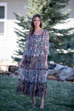Veronica Black/Ivory Mixed Print Peasant Dress - 6