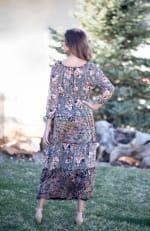 Veronica Black/Ivory Mixed Print Peasant Dress - 2