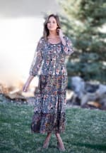 Veronica Black/Ivory Mixed Print Peasant Dress - 3