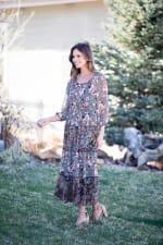 Veronica Black/Ivory Mixed Print Peasant Dress - 4
