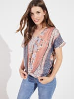 Twisted Front Short Sleeve Blouse - 1