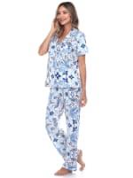 Short Sleeve & Pants Tropical Pajama Set - 5