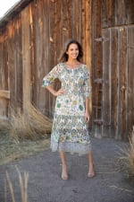 Veronica Ivory/Olive Border Print Peasant Dress - 5