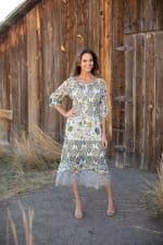 Veronica Ivory/Olive Border Print Peasant Dress - 6