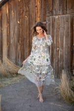 Veronica Ivory/Olive Border Print Peasant Dress - 4