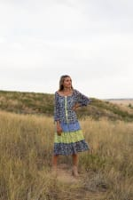 Alexa Blue/Yellow Ditsy Floral Peasant Dress - 2