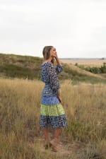 Alexa Blue/Yellow Ditsy Floral Peasant Dress - 4