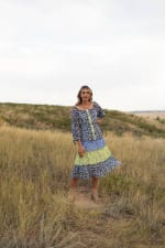 Alexa Blue/Yellow Ditsy Floral Peasant Dress - 1