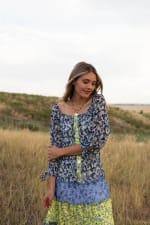 Alexa Blue/Yellow Ditsy Floral Peasant Dress - 3