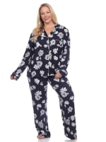 Long Sleeve Floral Pajama Set - Plus - 1
