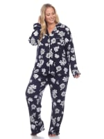 Long Sleeve Floral Pajama Set - Plus - 4