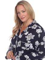 Long Sleeve Floral Pajama Set - Plus - 3