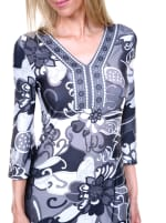 Carmen Printed V Neck Dress - 7