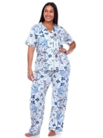 Short Sleeve & Pants Tropical Pajama Set - Plus - 3