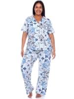 Short Sleeve & Pants Tropical Pajama Set - Plus - 1