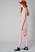Long Sleeve Side Pleated Tulip Bottom Dress - 4