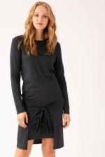 Tie Front Long Sleeve Tee Dress - 15