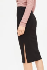 Ribbed Pencil Skirt with Slit - 5