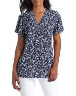 Isaac Mizrahi Short Sleeves V-Neck Knit Top - 1