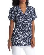 Isaac Mizrahi Short Sleeves V-Neck Knit Top - 3
