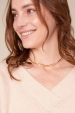 Brass Chain Linked Short Necklace - 3
