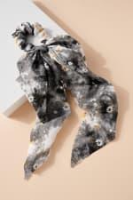 Floral Print Tie Dye Scarf Pony - 11