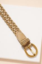 Metal Buckle Braided Leather Belt - 4