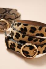 Double Metal Buckle Animal Faux Leather Belt - 2