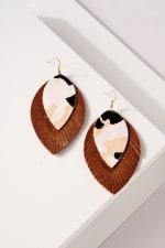 Genuine Leather Animal Print Earrings - 1